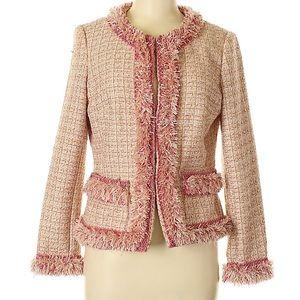 Boston Proper Pink Tweed Fringe Jacket